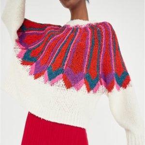 Zara multicolored jacquard sweater